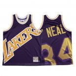 Maglia Los Angeles Lakers Shaquille O'neal #34 Mitchell & Ness Big Face Viola
