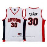 Maglia NCAA Davidson Wildcat Stephen Curry #30 Bianco