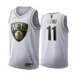 Maglia Golden Edition Brooklyn Nets Kyrie Irving #11 Bianco