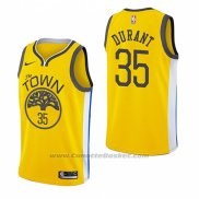 Maglia Golden State Warriors Kevin Durant #35 Earned 2018-19 Giallo