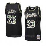 Maglia Los Angeles Lakers Lebron James #23 Camuffamento Nero
