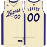 Maglia Natale 2015 Los Angeles Lakers Adidas Personalizzate Bianco