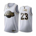 Maglia Golden Edition Los Angeles Lakers Lebron James #23 Bianco