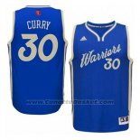Maglia Natale 2015 Golden State Warriors Stephen Curry #30 Blu