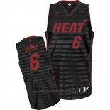 Maglia Scanalatura Moda Miami Heat Lebron James #6 Nero