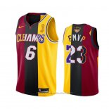 Maglia Los Angeles Lakers Lebron James 2020 FMVP Heat Cavaliers Split Dual Number Rosso Or