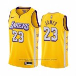 Maglia Los Angeles Lakers Lebron James #23 Citta 2019-20 Giallo