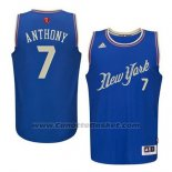 Maglia Natale 2015 New York Carmelo Anthony #7 Blu