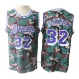 Maglia Los Angeles Lakers Magic Johnson #32 Camuffamento Verde