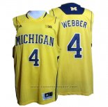 Maglia NCAA Michigan State Spartans Chirs Webber #4 Giallo