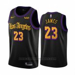 Maglia Los Angeles Lakers Lebron James #23 Citta 2019-20 Nero