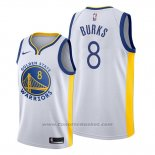 Maglia Golden State Warriors Alec Burks #8 Association Bianco