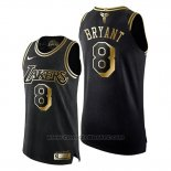 Maglia Los Angeles Lakers Kobe Bryant #8 Gold Black Mamba Nero Or