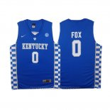 Maglia NCAA Kentucky Wildcats De'Aaron Fox #0 Blu