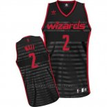 Maglia Scanalatura Moda Washington Wizards John Wall #2 Nero