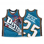Maglia Detroit Pistons Derrick Rose #25 Mitchell & Ness Big Face Blu
