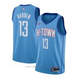 Maglia Houston Rockets James Harden #13 Citta 2020-21 Blu