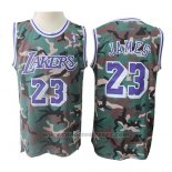 Maglia Los Angeles Lakers Lebron James #23 Camuffamento Verde