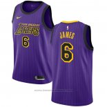 Maglia Los Angeles Lakers Lebron James #6 2019-20 Citta Viola