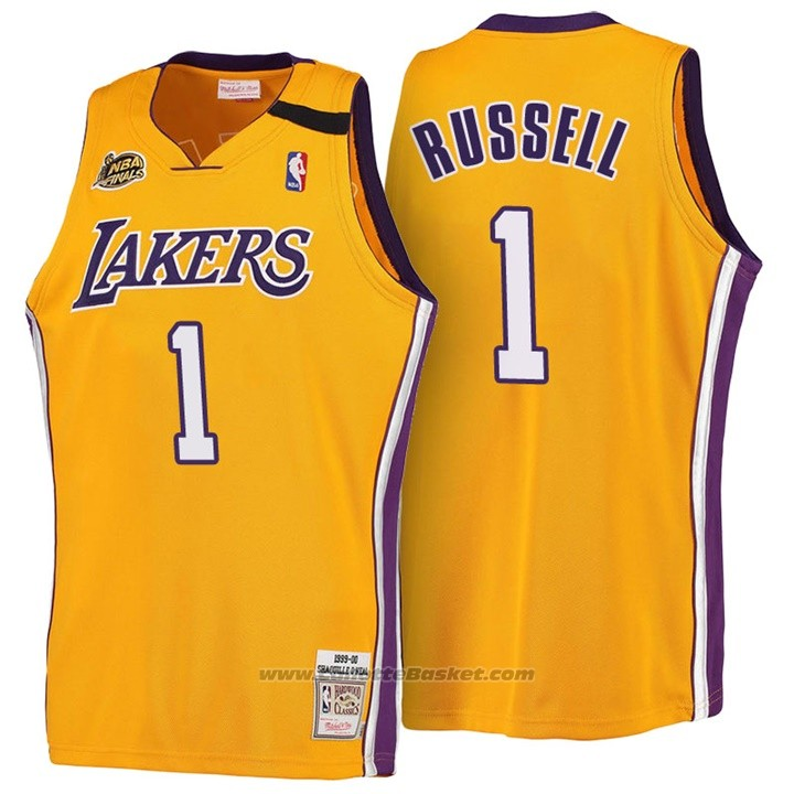 Maglia Los Angeles Lakers D'Angelo Russell #1 Retro 1999-00 Giallo